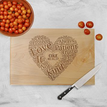 Cutting Board Wedding Gift - Love is patient Love is kind - Heart Personalized Cutting Board