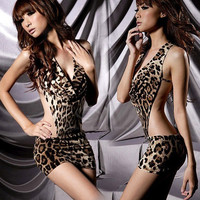 Stylish Sexy Leopard Backless Hot Girl Dress Clubwear