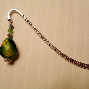 Green & Yellow Crystal Bookmark - Book Lovers, Readers, Gift