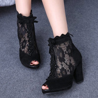 Women High Heels Mesh Breathable Fashion Lace Open Toe Pumps
