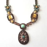 "LOGO Links by Lori Goldstein 18"" Stone Collar Necklace with Pendent Pastels Bead"