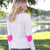 Cream Sweater With Heart Elbow Patches
