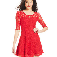 Material Girl Short-Sleeve Lace Skater Dress