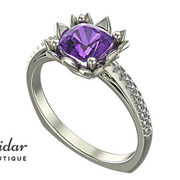 Flower Engagement Ring,Unique Engagement Ring,diamond Engagement Ring,cushion,purple,Amethyst Engagement Ring,lotus,floral,Engagement Ring