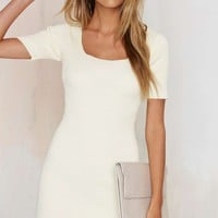 Glamorous Get the Scoop Ribbed Sweater Dress - Ivory