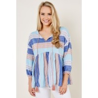 Take Me Away Blue Striped Top