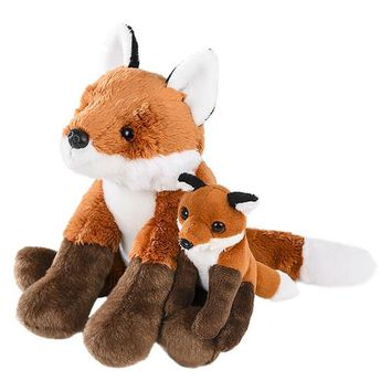 7 Inch Small Stuffed Red Fox Mom and Baby Plush Zoo Animal Mini Family Collection