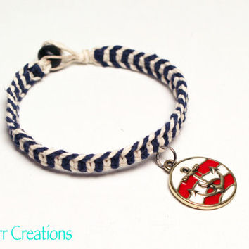 Nautical Hemp Bracelet, Anchor Charm, Navy and White, Fishbone Pattern, Herringbone, Gifts for Her, Sailor, Ocean, Summer Beach Jewelry