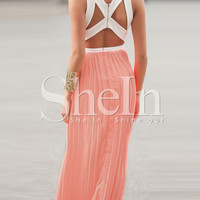Pink Sleeveless Cutout Color Block Pleated Maxi Dress