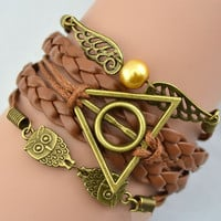 Vintage Owl Harry Potter Wings Infinity Bracelet
