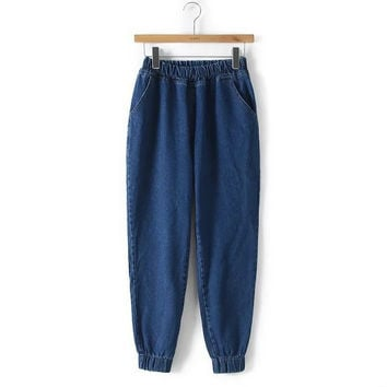 Stylish Rinsed Denim Women's Fashion Pants Jeans [5013348548]