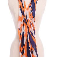 Aztec Infinity Scarf, Navy-Orange