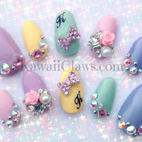Pastel Monogram 3d false fake nails with rose charms, bows & Swarovski bling Japanese nail art