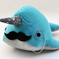 Narwhal Plush  with Mustache and Monocle  Medium  by OstrichFarm