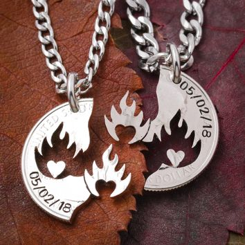 Anniversary Date Couples Necklaces, Hearts on Fire