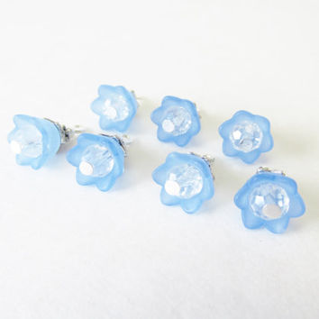 7 Pcs. Lucite Flower Charms - Periwinkle Blue Flower Cap Charms - Clear Crystal Beads - Handmade DIY Jewelry Parts / Supplies - Flower Beads