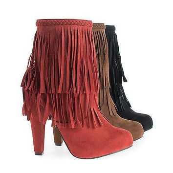 Phoebe11 By Breckelle's, Almond Toe Western Fringe Block Heel Ankle Boots