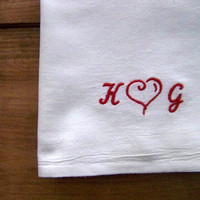valentine's day tea towel / flour sack towel / embroidered / personalized / custom / heart / red and white / monogram / valentines gift