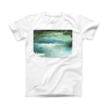 The Greenish Watercolor Strokes ink-Fuzed Front Spot Graphic Unisex Soft-Fitted Tee Shirt