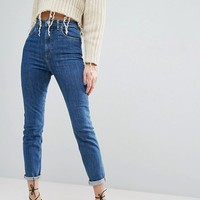 ASOS FARLEIGH High Waist Slim Mom Jeans In Harley Flat Blue Wash at asos.com