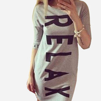 2015 New Fashion Women Casual Dress Summer Style Sports Letters Printing Vestidos Dress Gray Dresses Q0023