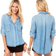 Blue Washed Out Long Sleeve Denim Shirt