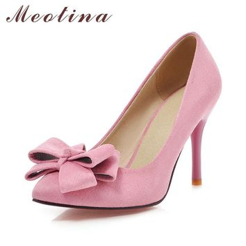 Meotina Latest Shoes Women Pumps Spring Pointed Toe Basic Party Thin High Heels Bow La