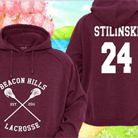 Personalized back Teen Wolf Stiles Stilinski 24 Maroon Pullover Sweater Sweatshirt Hoodie Made in USA