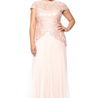 PAILLETTE EMBROIDERED LACE AND CHIFFON SKIRT GOWN