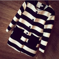 Spring & Autumn Women Outerwear Striped Printed Jacket Slim Casual Coat