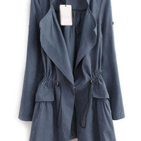Blue Pocket Design Drawstring Waist Trench Coat