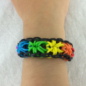 Starburst Bracelet Red Orange Yellow Green Rainbow Loom Handmade Rubber Band You Can Customize