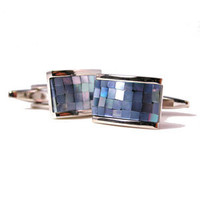 Organic Blue Cube Mosaic Mother Of Pearl Cufflinks