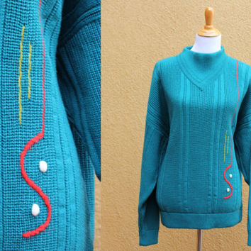 Vtg 80's Quirky Sweater Wool Cashmere Blend Teal Artistic XL Oversized Unique Made in Italy