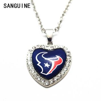 New Arrival Houston texans 1pcs/lot Heart Crystal Football Glass Pendant Necklace With 50cm Chains Necklace For Women Jewelry