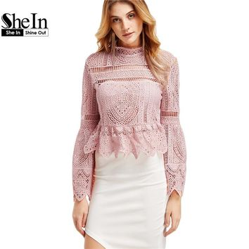 SheIn Sexy Long Sleeve Tops for Women Long Sleeve Shirts Women Fashion Pink Lace Flare Sleeve Peplum Zipper Back Blouse