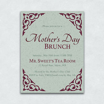 Custom Invitations, Mother's Day Brunch Invitations - Sets of 10 & 20