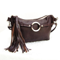 Brown Leather Fanny Pack with Tassels, Leather Waist Pouch, Small Leather Bag, 3 way leather purse, leather fanny bag