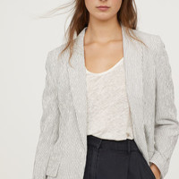 Textured-weave jacket - White/Black striped - Ladies | H&M GB