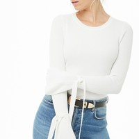 Ribbed Tie-Sleeve Top