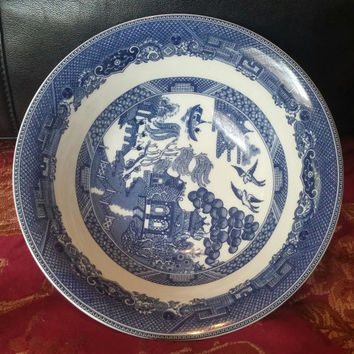 """A Set of Two Gorgeous Brothers Blue Willow Bowls 6"""" Coupe Cereal Dessert Fruit Salad Round China Porcelain England"""