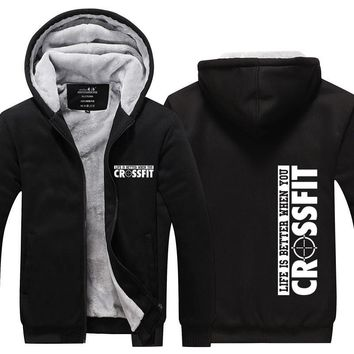 New Arrival Mens Hoodie Winter Crossfit Outwear thicken fleece coat zipper jacket US EU Plus Size