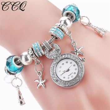 CCQ Brand Women Beaded Bracelet Watch Luxury Women Fashion Heart Band Dress Wristwatch Women Female Quartz Watches 2145
