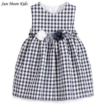 Sun Moon Kids 2017 Blue Plaid Baby Dress New Casual Sleeveless Baby Dress Summer Party Birthday Baby Dress Cotton Ball Gown