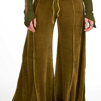 VELVET FLOW PANTS, green velvet flares, extra wide bellydance trousers, hippy flare pants, pixie clothing, Goa doof clothing