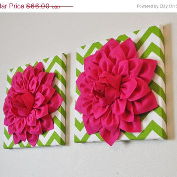 """MOTHERS DAY SALE Two Flower Wall Hangings- Hot Pink Dahlia on Chartreuse and White Chevron 12 x12"""" Canvas Wall Art- Baby Nursery Wall Decor-"""