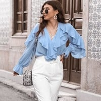 V-neck ruffled vintage blouse shirt women Lantern sleeve chiffon top female Streetwear casual chiffon tops blusas