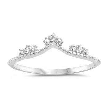 Curved Band with Cubic Zirconia Crown Stacking Curved Band