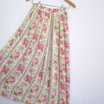 Vintage Floral Stripe Rayon Skirt pleated pleat long maxi valentine pretty cream S