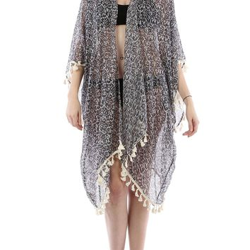 Navy Blue Paisley Print Sheer Cover Up Poncho
